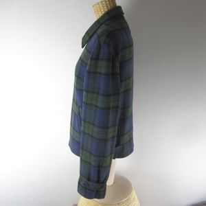 The Limited Jackets & Coats - The Limited Small Blue Plaid Wool Jacket Bomber